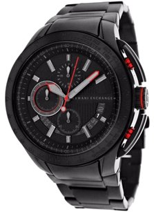 A|X Armani Exchange AX1404 ARMANI EXCHANGE BLACK + RED ACCENT MULTI-FUNCTION MEN'S WATCH