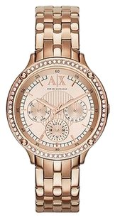 A|X Armani Exchange Multi-Function Rose Dial Rose Gold-plated Ladies Watch