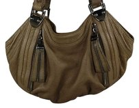 B. Makowsky B Womens Leather Handbag Satchel in Beige
