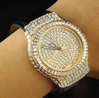 B. Moss Baguette Lab Diamond Iced Rose Gold Finish Bm Mens Jojo Aqua Master Rodeo Watch
