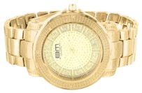 B. Moss Mens Greek Dial 14k Yellow Gold Finish Watch Techno Bm Iced Presidential Watch