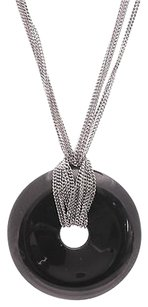 Baccarat Baccarat Sterling Silver Black Crystal Circle Pendant Necklace