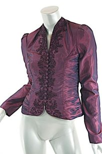 Badgley Mischka Bordeaux 100 Silk Embroidered Reds Jacket
