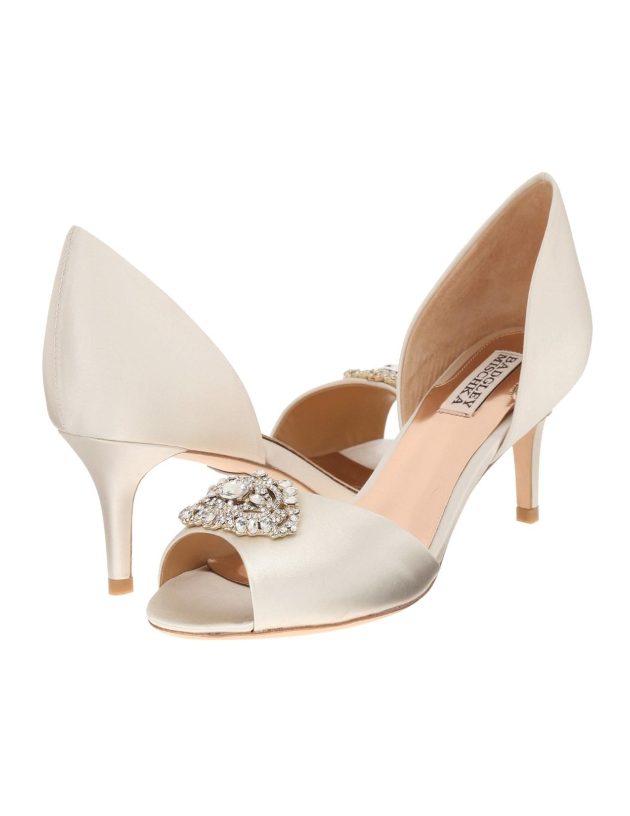 Badgley Mischka Ivory Petrina Peep Toe D'orsay Pump Formal Size US 11  Regular (