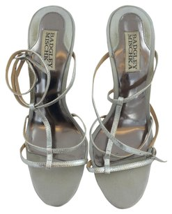 Badgley Mischka Strappy Heels Silver Pumps