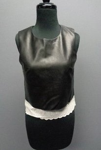 Bailey 44 Faux Leather Lined Sleeveless Cotton Trim Sm6119 Top Black