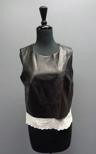 Bailey 44 Leather Lace Sleeveless Sma7507 Top Black And White
