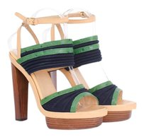 Balenciaga Beige Leather Navy Blue Green Ostrich Wooden Sandals 939 Multi-Color Platforms
