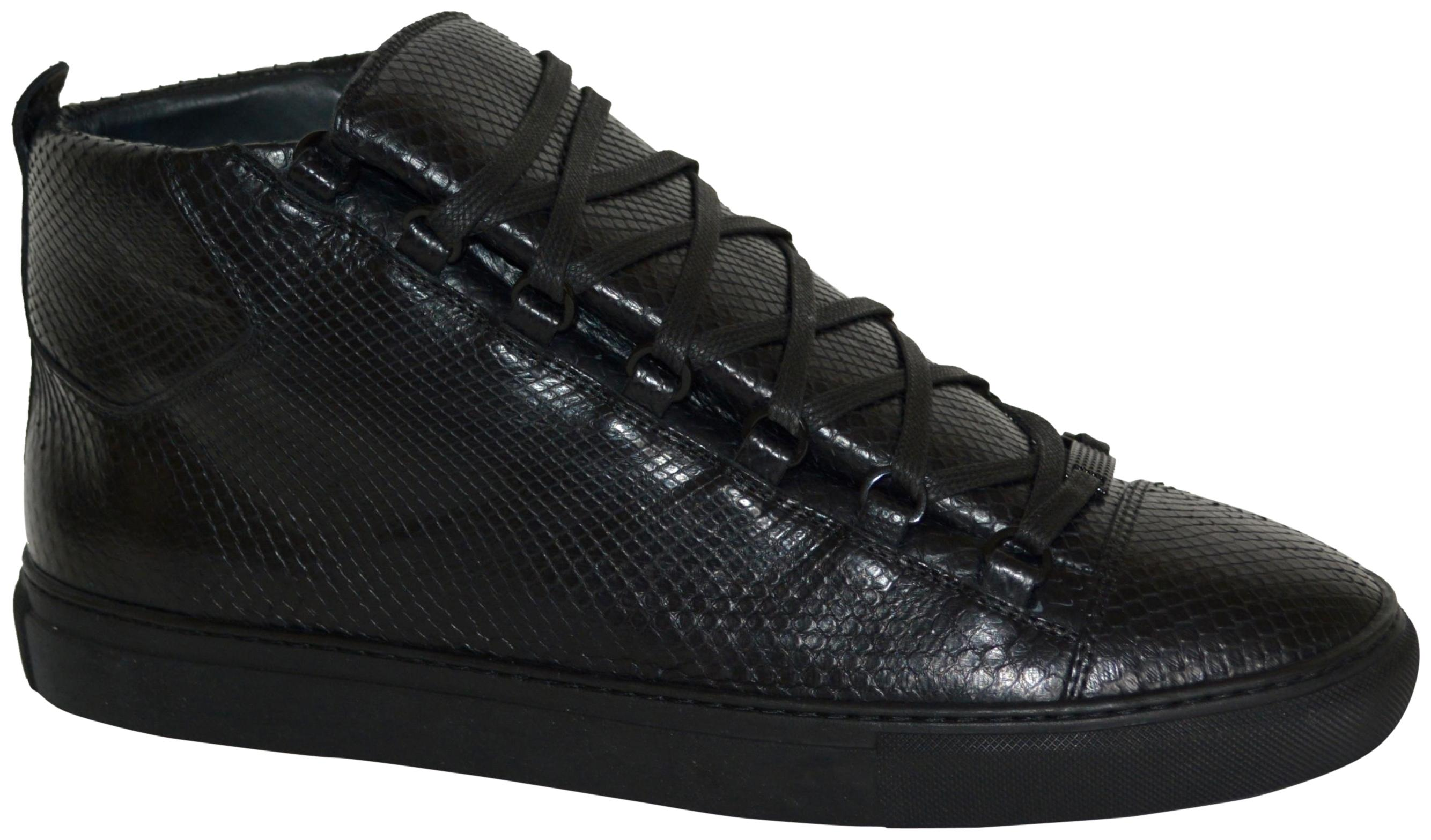 Balenciaga Black New Hitop Python Leather Sneakers Eu 48 Mens Sneakers Size US 13 Regular (M, B)