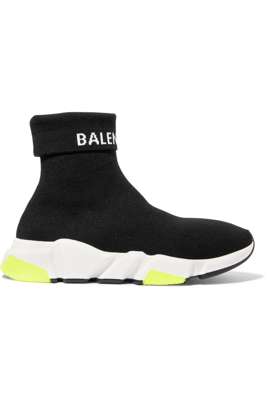 Balenciaga Black Speed Logo-intarsia Stretch-knit High-top Sneakers It40 Sneakers Size EU 40 (Approx. US 10) Regular (M, B)