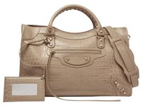 Balenciaga Classic City Crocodile Embossed Tote in Beige