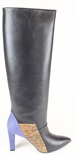 Balenciaga Snake Print Leather Suede Knee High Black / Purple Boots