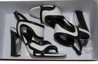 Balenciaga Patent Leather White and Black Sandals