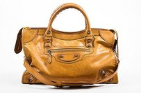Balenciaga Light Leather Giant Gold City Satchel in Brown