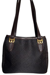 Bally Dark Black Signature Canvas Leather Italy Shoulder Bag