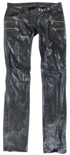 Balmain 36 Black Leather Ar Pants