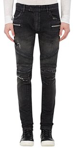 Balmain Biker Skinny Distressed Black Washed Skinny Jeans