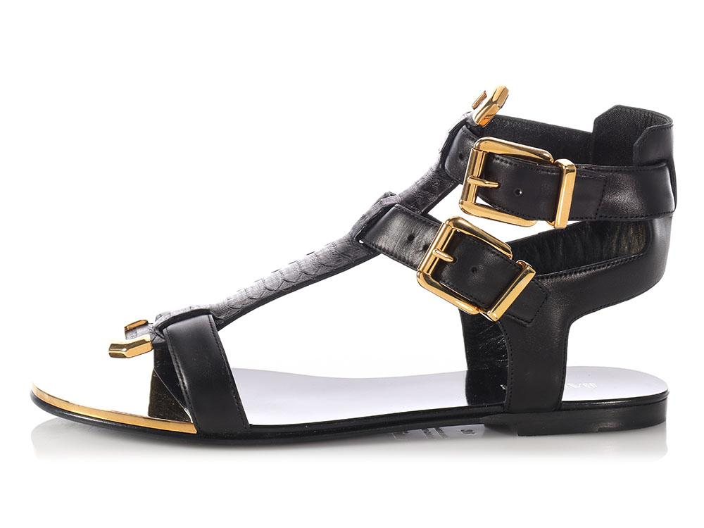 Balmain Tan Two-Strap Sandals