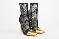 Balmain Black Black, Metallic Gold Boots