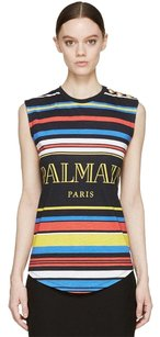 Balmain Logo Gold Hardware Tank T Shirt Black Multi-color