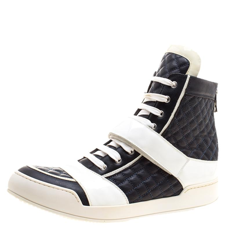 Leather Monochrome High Top Sneakers Size Balmain Quilted Blue x8qx5I