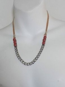 Banana Republic Banana Republic Antique Slvr Chain Red Stone Tan Faux Suede Tie Necklace