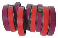 Banana Republic Banana Republic Leather Gunmetal Hinged Cuff Set of 2 Purple & Red NWOT $49 Each Dust bag Included
