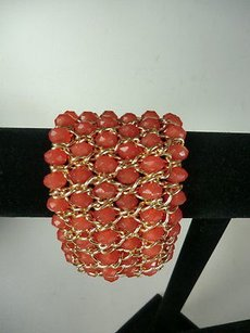 Banana Republic Banana Republic Wave Sparkle Orng Bead Bracelet Gold Braided Elastic Bracelet 59