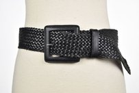 Banana Republic Banana Republic Womens Black Woven Wide Belt Casual Leather