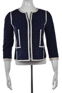 Banana Republic Womens Textured Cotton 34 Sleeve Coat Navy Jacket