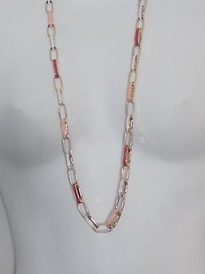 Banana Republic Lot Of Banana Republic Pnk Red Enamel Gold Link Layer Necklace