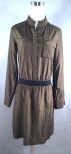 Banana Republic short dress Olive Silk Long Button Up Banded on Tradesy