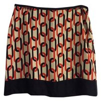Banana Republic Skirt Orange Navy Cream