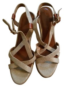 Banana Republic Strappy Slingbacks Braided Heel Metallic Threads tan Wedges
