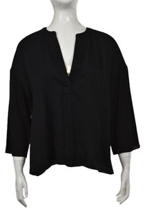Banana Republic Womens Metallic 34 Sleeve Textured Shirt Top Black
