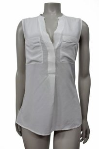 Banana Republic Light Silk Sleeveless Popover Top White
