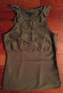 Banana Republic Trim Top OLIVE GREEN LACE RUFFLE TANK CAMI