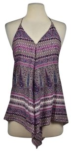 Band of Gypsies Womoens Printed Halter Casual V Neck Shirt Purple Halter Top