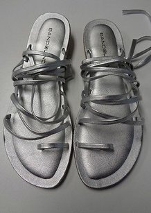 Bandolino Casual Flat W Multiple Straps And Tie B3342 Silver Sandals