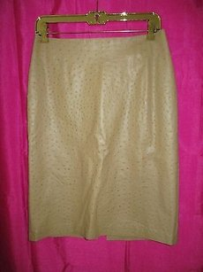 Barneys New York Ostrich Textured Skirt Beige