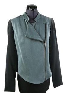 Barneys New York Asymmetric Zipper Black, Grey Blazer