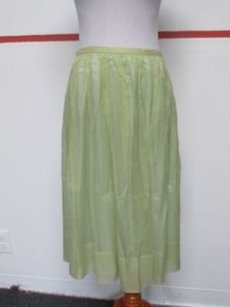 Barneys New York Light Silk Skirt Green