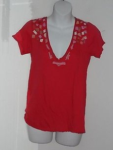 Barneys New York Loomstate Blank Red Embellished V Neck 580750 T Shirt Reds