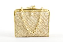 Barry Kieselstein-Cord Gold Tone Straw Shoulder Bag