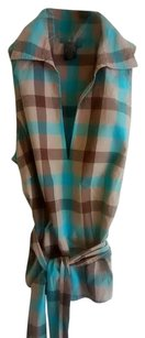BCBG Max Azria Top XS Plaid Multi Turquoise Brown