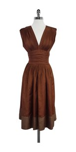 BCBGMAXAZRIA short dress Rust Silk Pleated Sleeveless on Tradesy