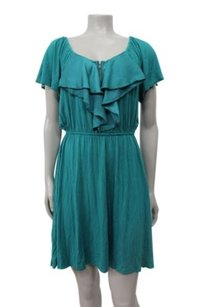 BCBGeneration Layered Ruffle Front Emerald Dress