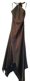 BCBGMAXAZRIA Backless Form Fitting Satin Look Hankerchief Bottom Dress
