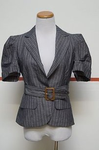 BCBGMAXAZRIA Bcbgmaxazria Gray Pinstripe Cotton Short Sleeves Belt Jacket Blazer 23225