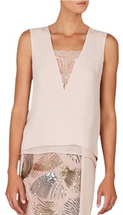 BCBGMAXAZRIA Blouse Low V-neck Lace Insest High/low Hemline Vent Center Back Top Bare Pink